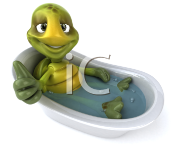 Royalty Free Clipart Image of a Turtle Soaking in the Tub and Giving a Thumbs Up