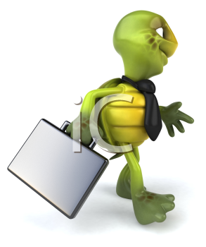 Royalty Free Clipart Image of Turtle With a Briefcase