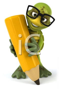 Royalty Free Clipart Image of a Turtle Wearing Spectacles Writing With a Large Pencil