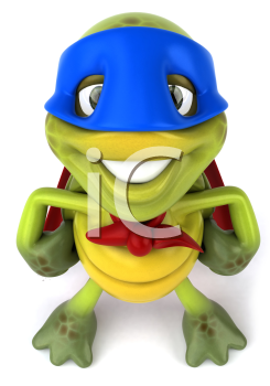 Royalty Free Clipart Image of a Smiling Superhero Turtle