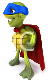 Royalty Free Clipart Image of a Side View of a Superhero Turtle