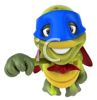 Royalty Free Clipart Image of a Superhero Turtle Flying