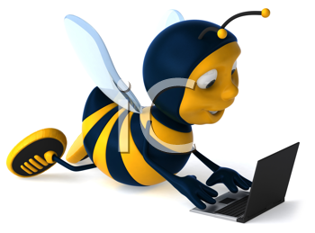Royalty Free Clipart Image of a Bee With a Laptop