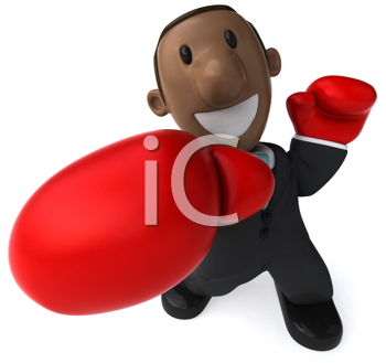 Royalty Free Clipart Image of an African American With Boxing Gloves