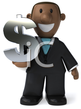 Royalty Free Clipart Image of a Man With a Dollar Sign
