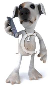 Royalty Free Clipart Image of a Jack Russell With a Cellphone