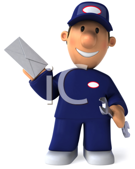 Royalty Free Clipart Image of a Mechanic With an Envelope