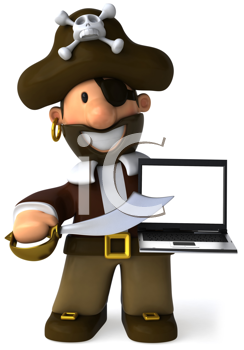 Royalty Free Clipart Image of a Pirate With a Computer