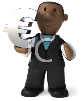 Royalty Free Clipart Image of a Black Businessman With a Euro Symbol