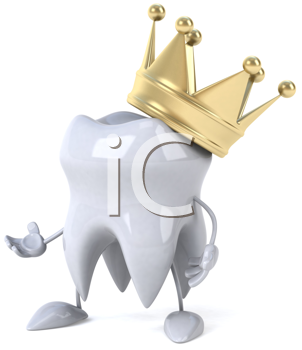 Royalty Free Clipart Image of a Tooth With a Crown