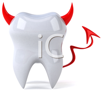 Royalty Free Clipart Image of a Tooth With a Devil's Horns and Tails