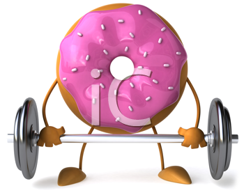 Royalty Free Clipart Image of a Doughnut Lifting Weights