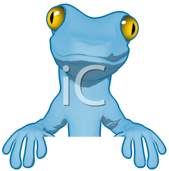 Royalty Free Clipart Image of a Blue Gecko