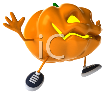 Royalty Free Clipart Image of a Running Jack-o-Lantern