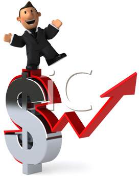 Royalty Free Clipart Image of a Businessman on a Dollar Symbol With a Rising Arrow