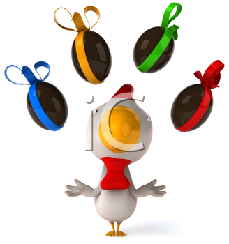 Royalty Free Clipart Image of a Chicken Juggling Easter Eggs