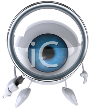 Royalty Free Clipart Image of an Eyeball With a Magnifying Glass