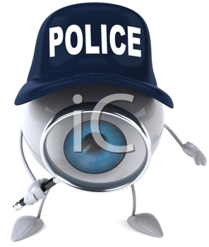 Royalty Free Clipart Image of a Police Eyeball With a Magnifying Glass