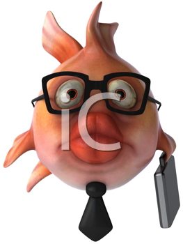 Royalty Free Clipart Image of a Fish Businessman