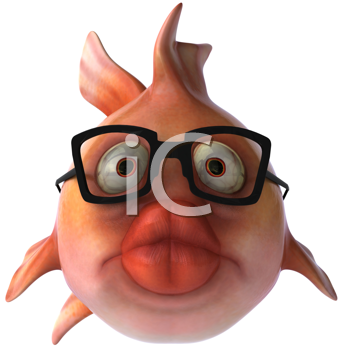 Royalty Free Clipart Image of a Fish With Big Lips and Glasses