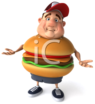 Royalty Free Clipart Image of a Man With a Burger Belly