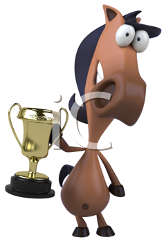 Royalty Free Clipart Image of a Horse With a Trophy
