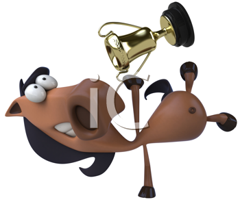 Royalty Free Clipart Image of a Horse Doing a Handstand With a Trophy