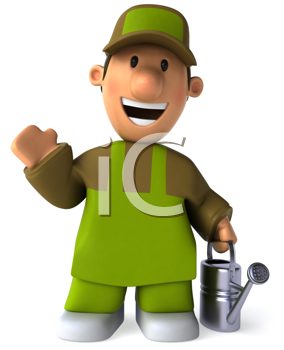 Royalty Free Clipart Image of a Gardener With a Sprinkling Can