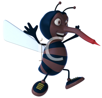 Royalty Free Clipart Image of a Happy Mosquito