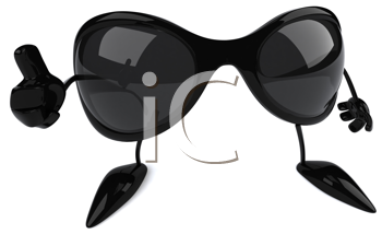 Royalty Free Clipart Image of Sunglasses Giving a Thumbs Up