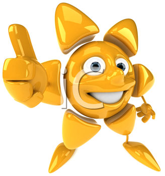 Royalty Free Clipart Image of a Sun Giving a Thumbs Up
