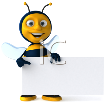 Royalty Free Clipart Image of a Bee With a Sign