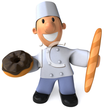 Royalty Free Clipart Image of a Baker With a Doughnut and Bread Stick