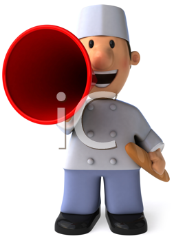 Royalty Free Clipart Image of a Baker With a Megaphone