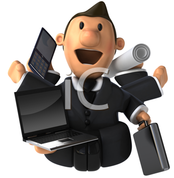 Royalty Free Clipart Image of a Multitasking Businessman