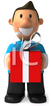 Royalty Free Clipart Image of a Man With a Present