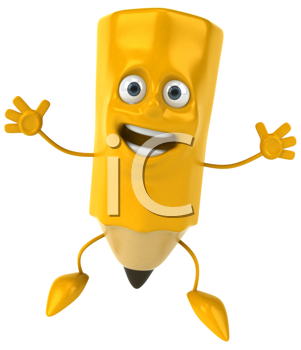 Royalty Free Clipart Image of a Happy Pencil