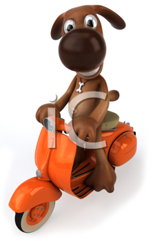 Royalty Free Clipart Image of a Dog on a Scooter
