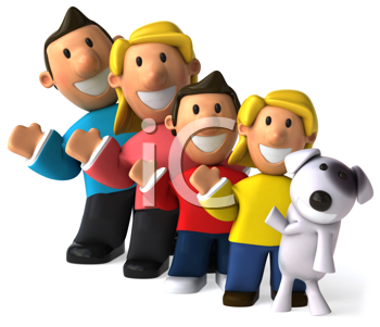 Royalty Free Clipart Image of a Waving Family and Dog