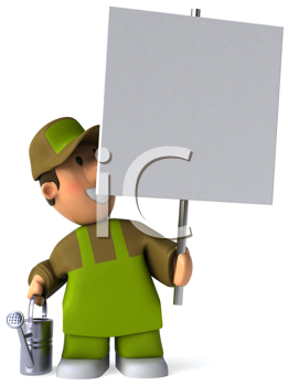 Royalty Free Clipart Image of a Man in Gardening Clothes Holding a Sign and Sprinkling Can