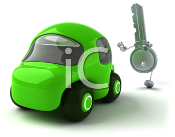 Royalty Free Clipart Image of a Green Car and Key