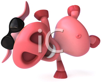 Royalty Free Clipart Image of a Pig in Sunglasses Doing a Handspring