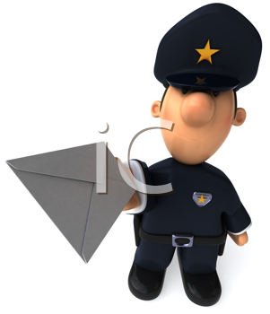 Royalty Free Clipart Image of a Cop With a Letter