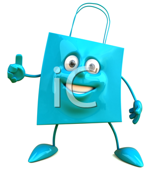 Royalty Free Clipart Image of a Bag Giving a Thumbs Up
