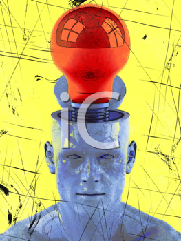 Royalty Free Clipart Image of a Man With a Lightbulb in His Open Head