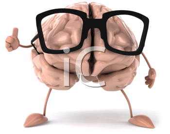 Royalty Free Clipart Image of a Brain in Glasses Giving a Thumbs Up