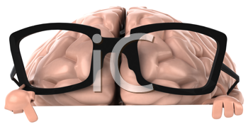 Royalty Free Clipart Image of a Brain in Glasses Pointing Down