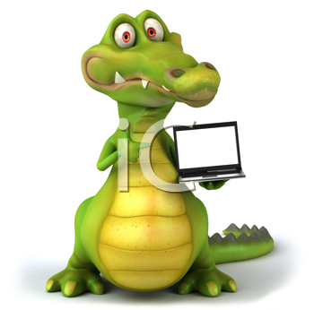 Royalty Free Clipart Image of an Alligator With a Laptop