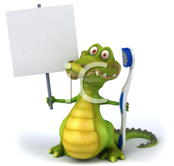 Royalty Free Clipart Image of a Gator With a Toothbrush