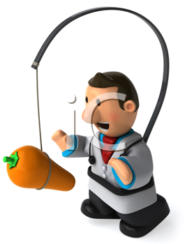 Royalty Free Clipart Image of a Doctor With a Carrot in Front of Him